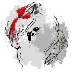 Koi fishes. Japanese style.