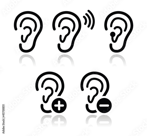 Ear Hearing Aid Deaf Problem Icons Set Stock Image And Royalty Free