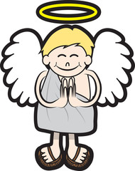 Isolated angel character with halo and wings