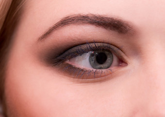 Portrait of beautiful young woman s eye