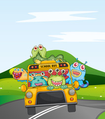 Fotorolgordijn Schepselen monsters in schoolbus