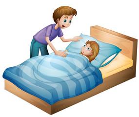 a boy and sleeping girl