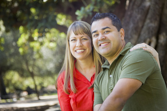 Attractive Mixed Race Couple Portrait at the Park