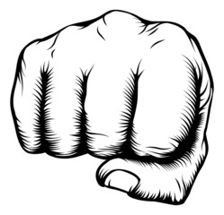 Hand in fist punching from front