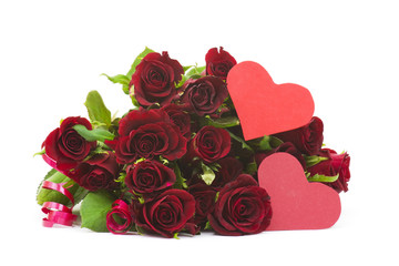 Big bunch of red roses and hearts