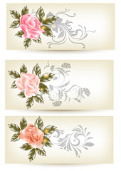 Cards template with roses