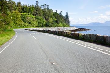 Sunny coastline road