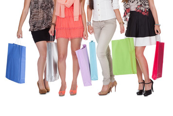 Elegant legs with shopping bags