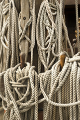 Twisted rope. Equipment on board sailing ship