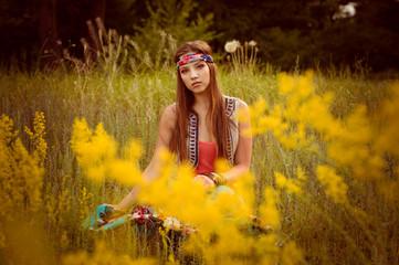 Girls of hippie in the field
