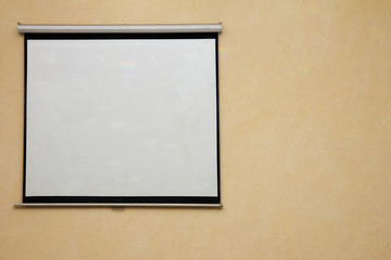 white screen on the wall as background