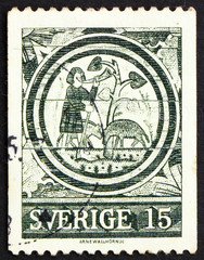 Postage stamp Sweden 1971 The Prodigal Son, 13th Century