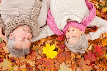 autumn spring love senior couple