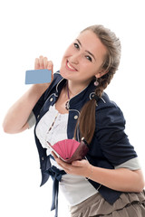 The girl gets a credit card from a purse