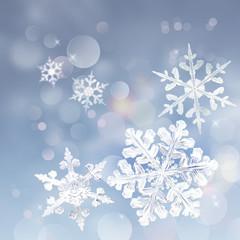 winter snowflakes bokeh background