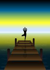 Fototapete - Yoga on a Sunset at Beach Bridge