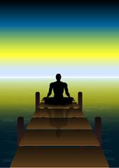 Fototapete - Sitting Yoga on a Sunset at Beach Bridge