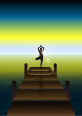 Fototapete - Yoga on a Sunset at Beach Bridge 2