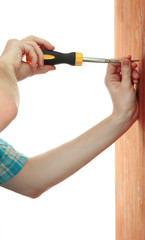man hands with screwdriver and screw