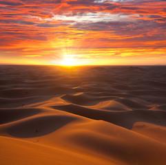 Photo sur Toile Desert de sable Desert on sunset