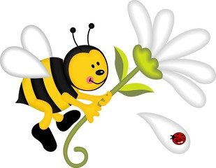 Bee flying holding flower