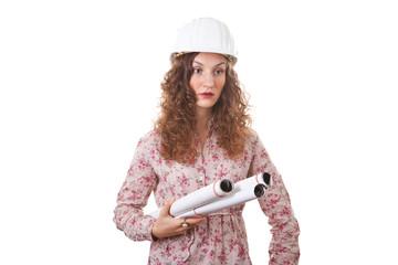 Bauleiterin mit Bauplänen