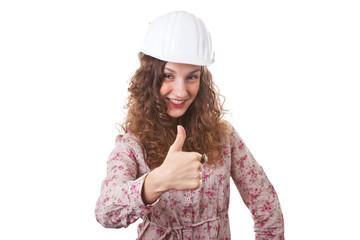 Bauleiterin zeigt den Daumen