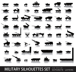 Detailed military silhouettes set. Vector