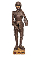 19th Century Medieval wooden knight figurine with armor suit