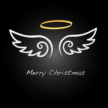 Merry Christmas - Hintergrund - Flügel - Weiß/Schwarz