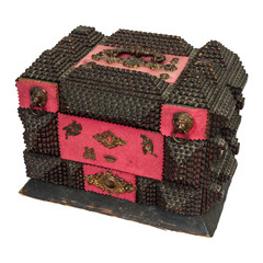 Nineteenth century decorated wooden treasure chest