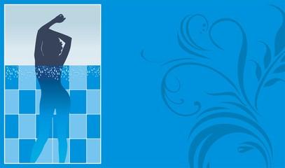 Female silhouette in pool. Blank for season ticket
