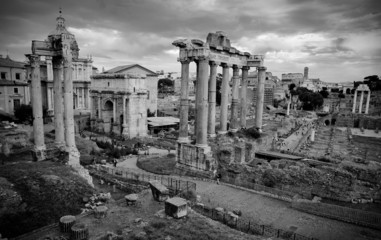 Fototapete - Postcard Foro Romano black and white - Roma - Italy