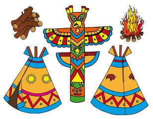 In de dag Indiërs Indians tepees collection