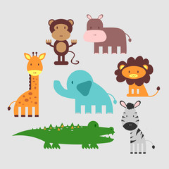 Cute African animals set