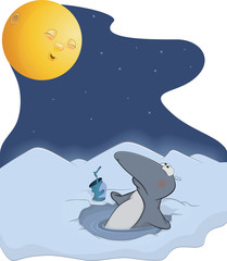 Penguin and the moon. Cartoon