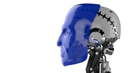 Cyborg Kopf Blau - Seitenansicht