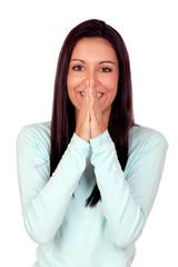 Pretty brunette woman praying
