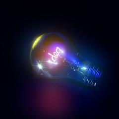 leuchtende Idee in Glühbrine 3D