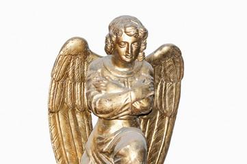 Golden Angel on white background.
