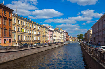 View of St. Petersburg. Griboyedov Canal in sunny day
