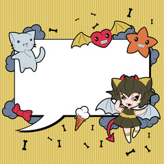 Wall Mural - Background with doodle. Vector cute kawaii illustration.