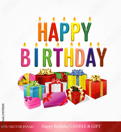 Eps vector image happy birthday candle giftfotolia eps vector image happy birthday candle gift negle