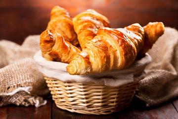 Photo sur Aluminium Boulangerie fresh croissants