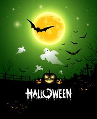 Halloween ghost design background, vector