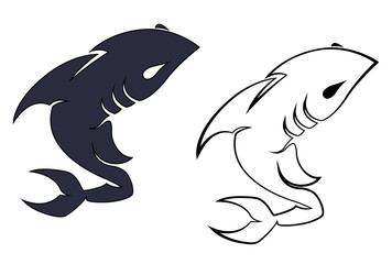 Retro Shark Mascot