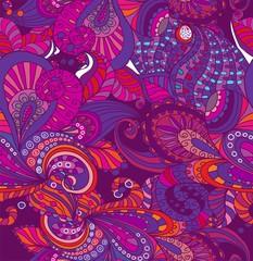 Doodle seamless color floral background