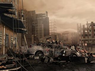 Fototapeta Zniszczone miasto obraz