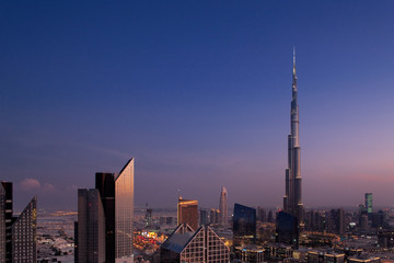 A skyline view of Downtown Dubai, showing the Burj Khalifa