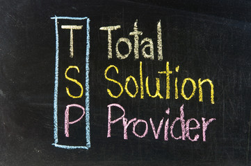 The word TSP handwritten with chalk  on a blackboard